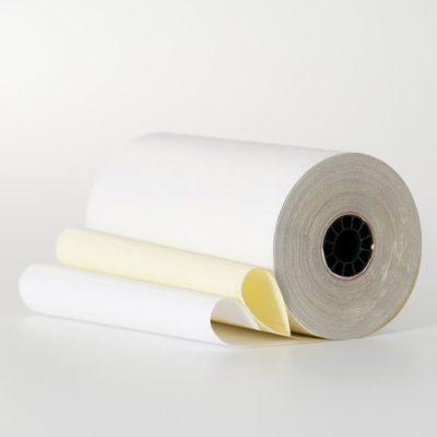 4 1/2″ x 85′ White/Canary 2 Ply Carbonless Paper (25 rolls/case)