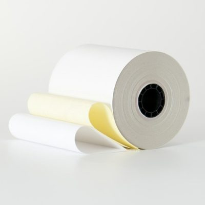 3 1/4″ x 100′ White/Canary 2 Ply Carbonless Paper (50 rolls/case)