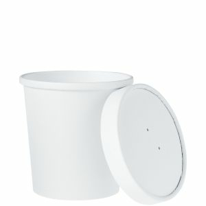 Paper Soup Containers Combo W/ Vented Paper Lid – 12oz – 500/cs